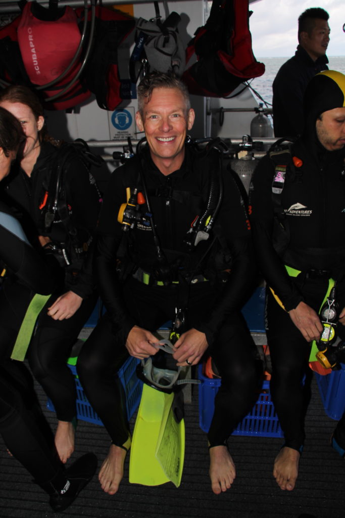 Dedntal Marketing Specialist Michael Fleming preparing for first dive at the Great Barrier Reef